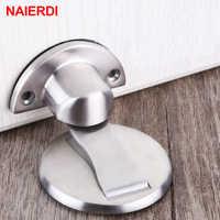 NAIERDI tapón de puerta magnético 304 de acero inoxidable imán para puerta soporte oculto captura de piso Puerta de baño muebles de Hardware