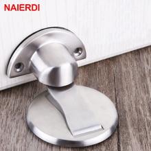 NAIERDI Magnetic Door Stopper 304 Stainless Steel Magnet Stops Holder Hidden Catch Floor Doorstop Toilet Furniture Hardware