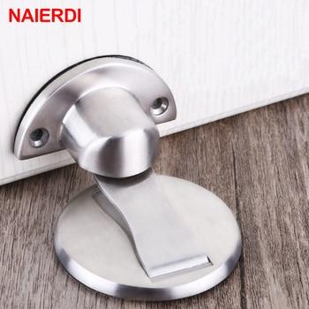 Tapón de puerta magnético NAIERDI 304 soporte magnético de acero inoxidable para puerta soporte oculto para suelo Tope de puerta herrajes para muebles de baño