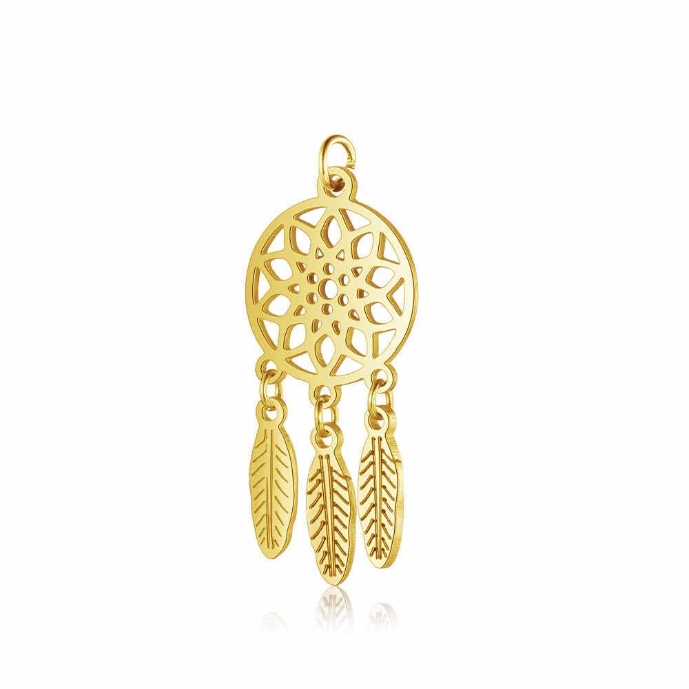 5 Buah/Banyak 100% Stainless Steel Mimpi Cathcher Liontin Vnistar Lotus DIY Temuan Perhiasan Pesona untuk Wanita Kalung Grosir
