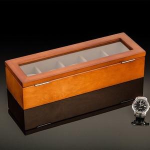 Image 3 - أعلى 5 فتحات ساعة عرض خشبية حالة خشب أسود صندوق لتخزين ساعات اليد مع قفل ساعة خشبية أنيقة هدية مجوهرات حالات C023