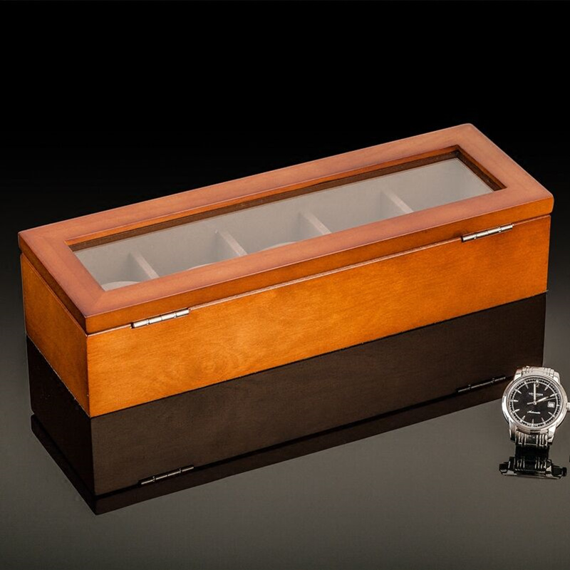 Image 3 - Top 5 Slots Wooden Watch Display Case Black Wood Watch Storage Box With Lock Fashion Wooden Watch Gift Jewelry Cases C023-in Watch Boxes from Watches