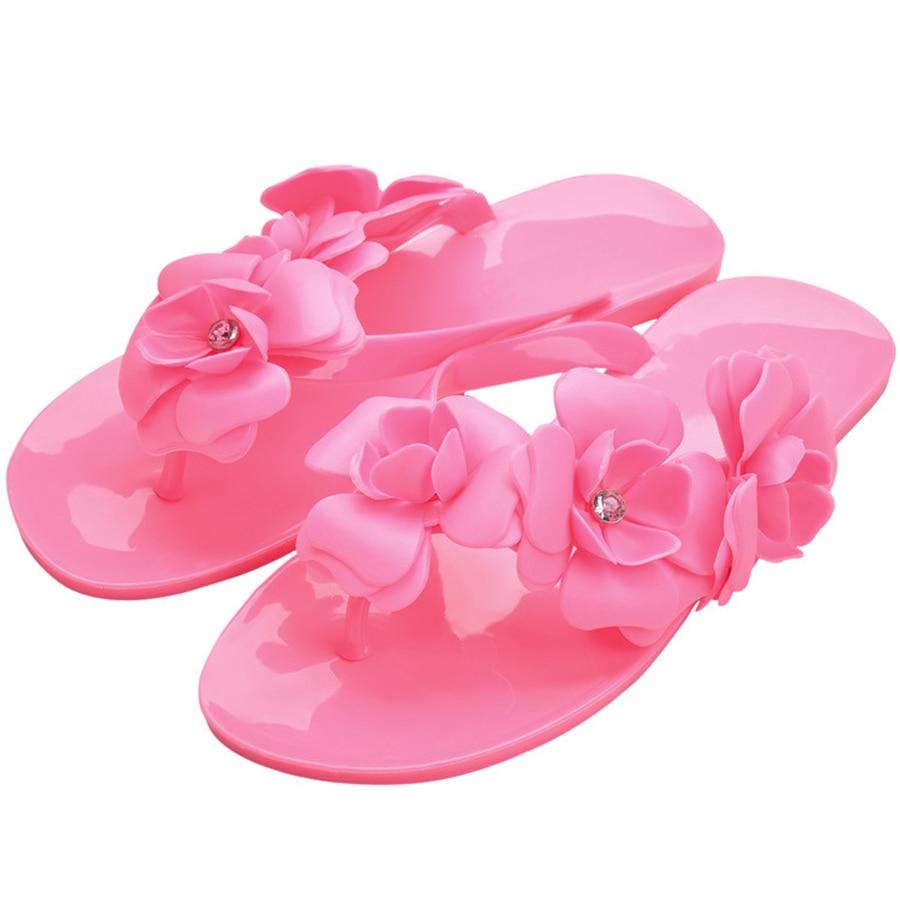 Summer Sweet Girls Slippers Camellia Flower Women Sandals Flat Flip Flops Bohemian Gladiator Sandals Beach Slippers summer style children sandals girls princess flower shoes kids flat sandals tide sneakers