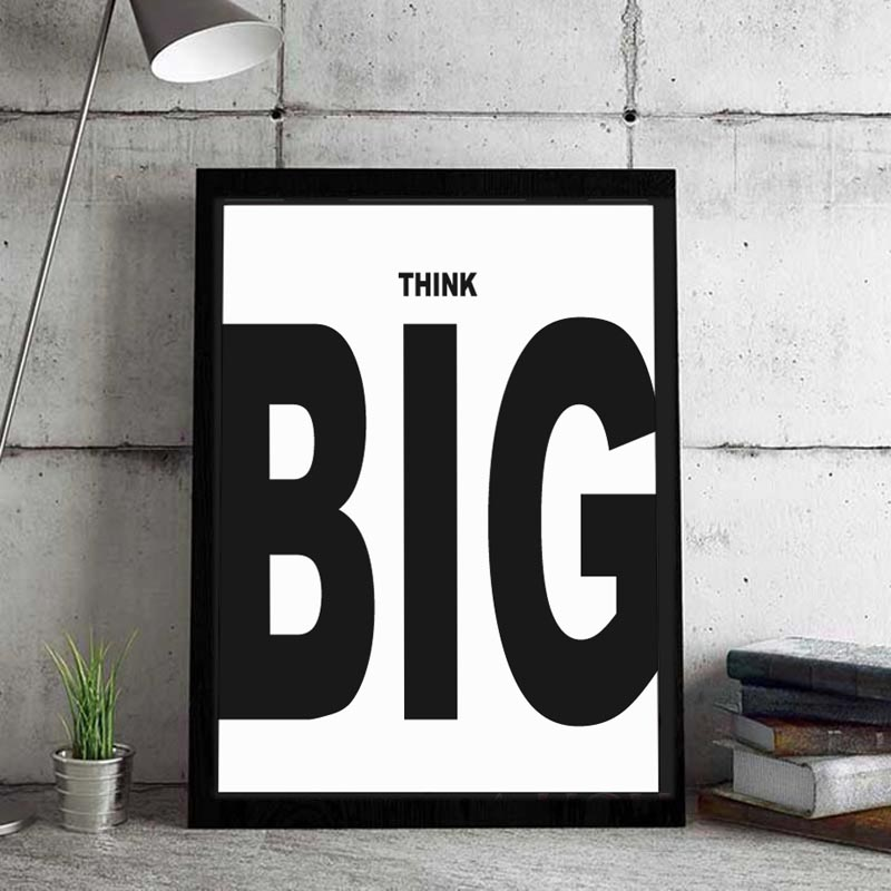 Think Big Inspiration Quote Canvas Art Print Painting Poster , Creative Idea Wall Pictures For Home Decoration Office Wall decor image