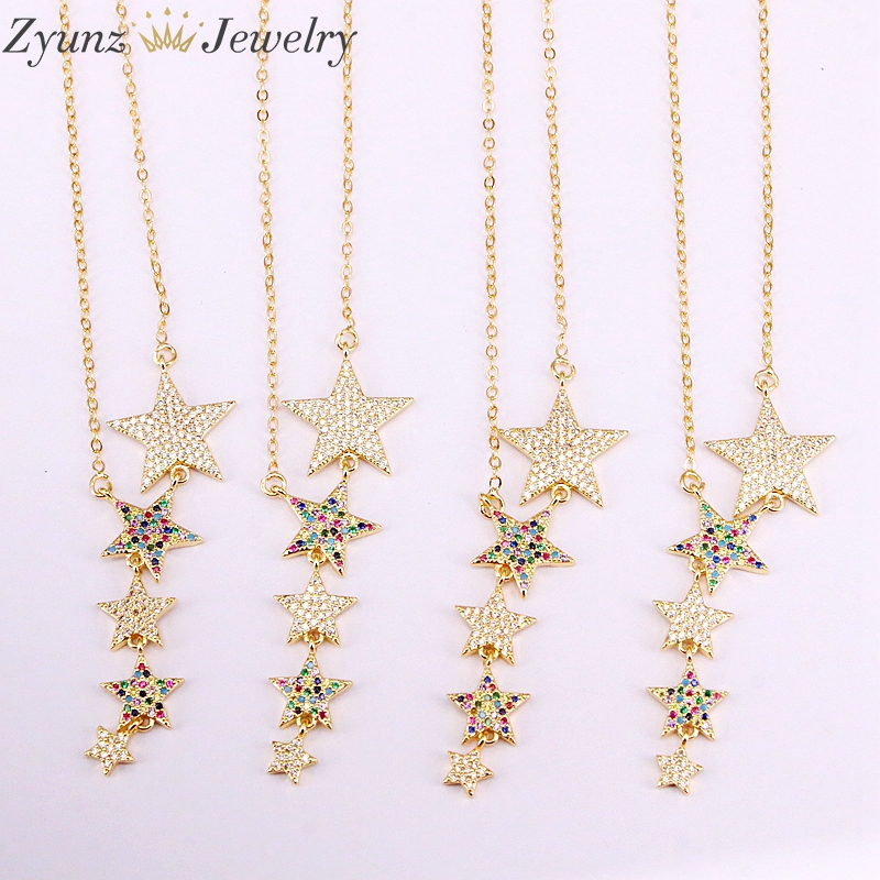 5PCS, Multi Crystal Zirconia CZ Micro Paved Rainbow Stars For Women Long Pendant Necklaces Birthday Gift