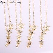 5 PCS, Multi Crystal Zirconia CZ Micro Paved Rainbow Stars สำหรับผู้หญิงยาวจี้สร้อยคอวันเกิดของขวัญ
