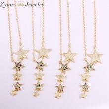 5 sztuk, wielu kryształ cyrkon CZ mikro betonowa tęczowe gwiazdki dla kobiet długie naszyjniki z wisiorkiem prezent urodzinowy