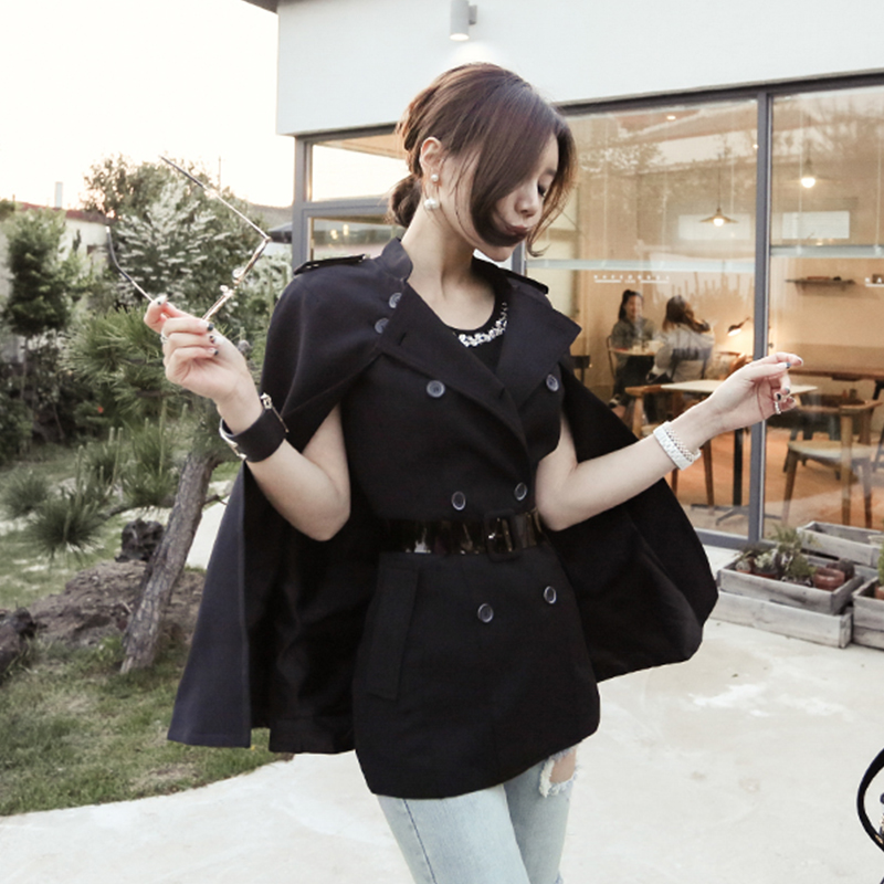 Fashion Removable Cloak Double Breasted Blazer Jacket Sashes Vest Suit Coat V neck Buttons Outerwear 2018