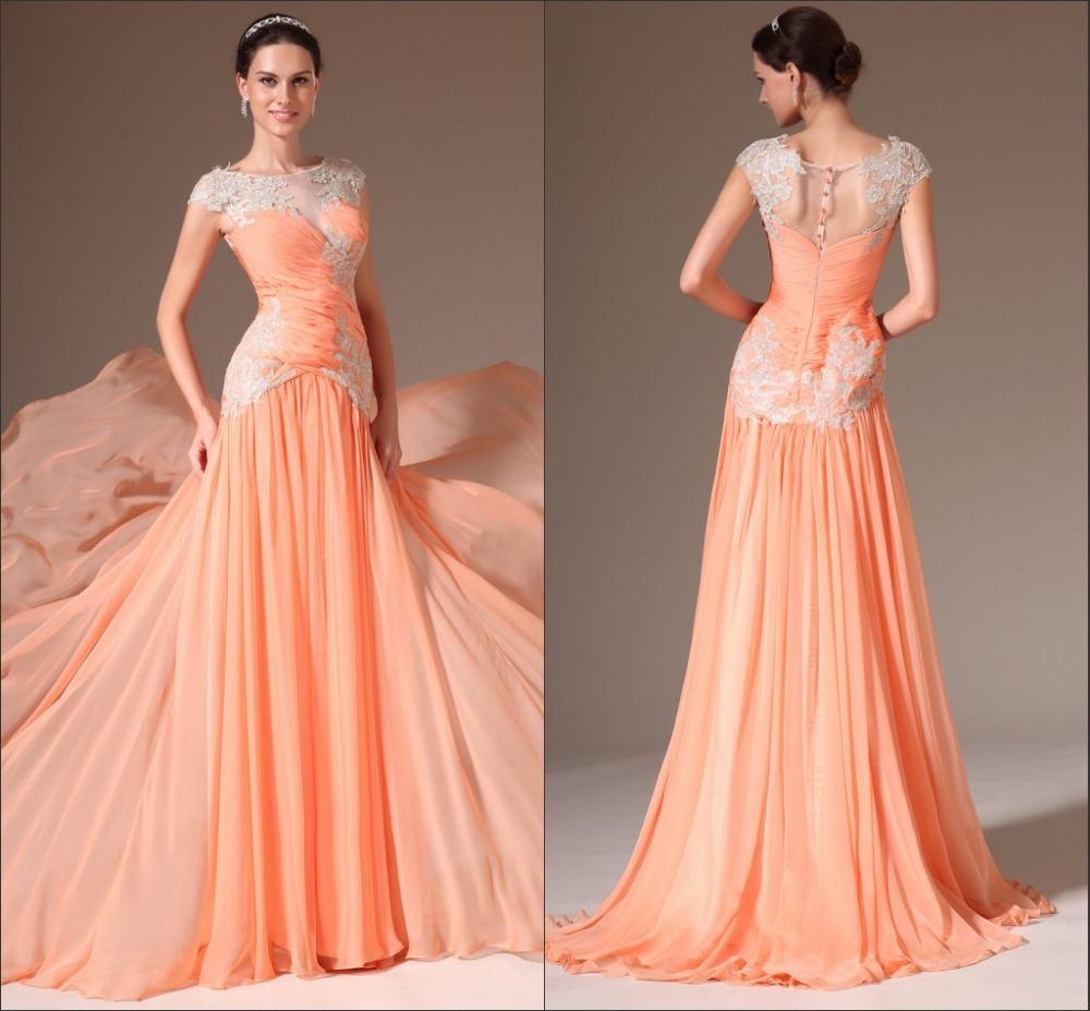 New Style Cap Sleeve Evening Gowns Orange Prom Dresses-in Prom ...