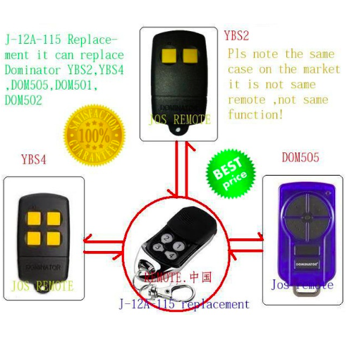 after market dominator remote , DOM501,DOM502,DOM505,YBS2,YBS4 remote dominator openers after market peccinin remote control 433mhz replacement