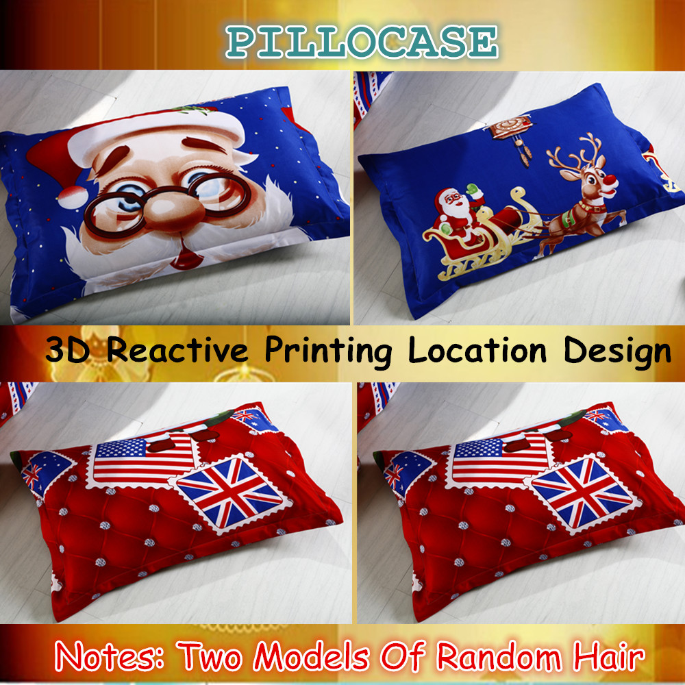 Great For Christmas, Set 4Pcs Christmas Santa Clause, 3D Bedding Set Duvet Cover Set,Sheet, Pillowcase, Sham Covers 42