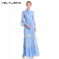 VELALISCIO Brands Women Dresses Vintage Spring Women Chiffion Dress High Quality Evening Party Solid Clothing Two