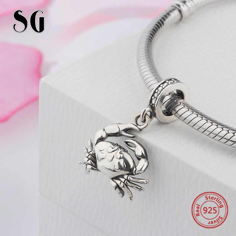 SG Новый серебряные бусины 925 пробы подвеска в виде краба с камнем, оригинальный браслет pandora, сделай сам, ювелирное изделие для женщин, подарки