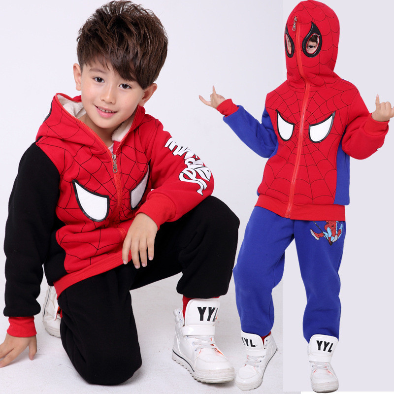Spiderman Baby Boy Clothing Sets Cotton Fleece Hooded Sport Suit Children Spider Man Cosplay Costume Kids Tracksuit Clothes 2pcs-in Clothing Sets from Mother & Kids