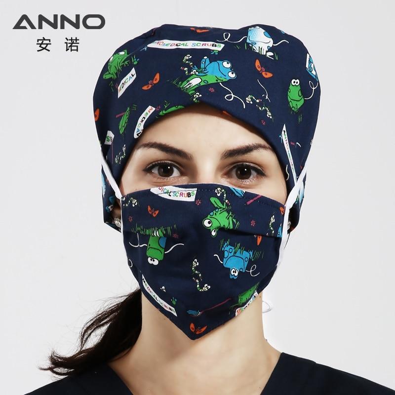 ANNO Frog Cartoon Print Medical Scrubs Caps Short Hair Women Cap Surgery Caps Doctor Nurse Cap Head Dress Face Mask Medical Mask
