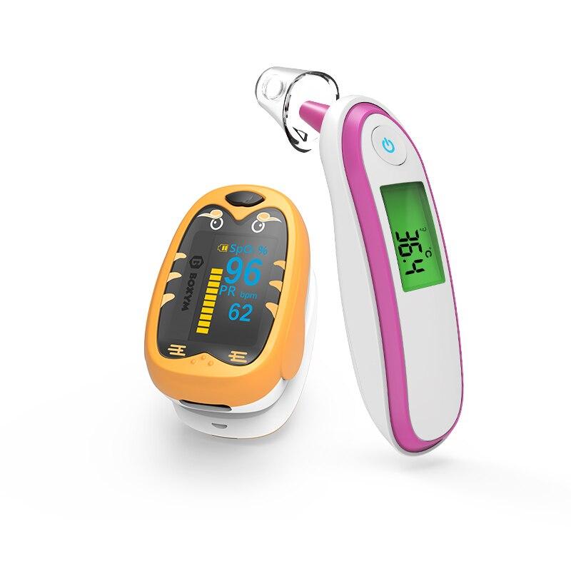 BOXYM Baby Ear fever Thermometer Infrared Finger Pulse Oximeter Children Pediatric oximetro SpO2 Saturation Meter for