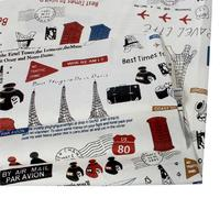 ヴィンテージコットン&リネンバンドルパッチワーク生地布ホームテキスタイル寝具多色アルファベットエッフェル塔縫製