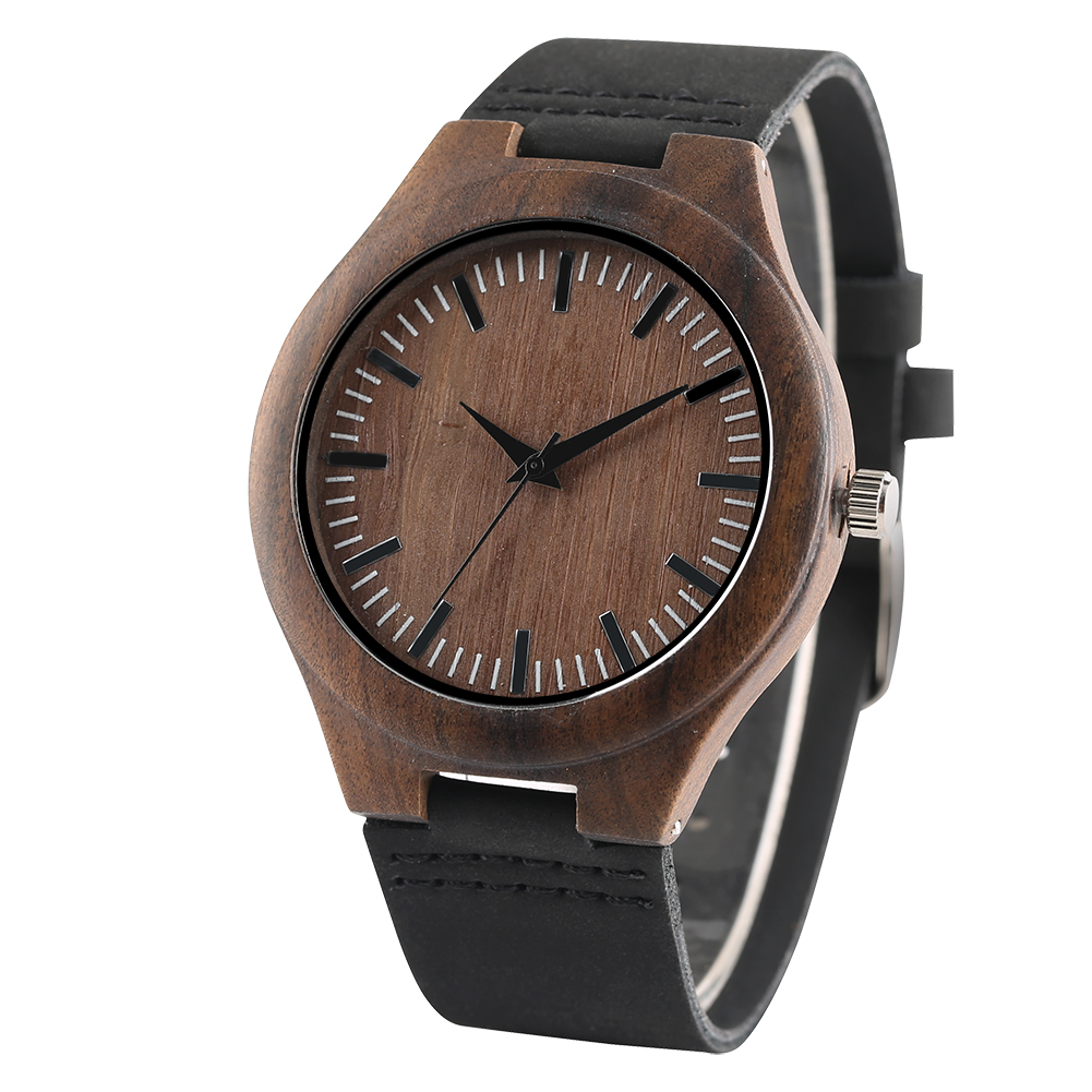 Handmade Wooden Mens Watches Classic Simple 12-Hours Display Men's Bamboo Genuine Leather Wristwatches Casual Clock Gifts Male simple watches men leather fashion male casual wooden women quartz watch natural handmade bamboo wristwatches clock 2017 analog
