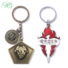 RJ Movie HP Hogwarts School Express Platform 9-3/4 Keychains Order of the Phoenix Frog Red Flame Men Car Keyring Pin GIft(China)