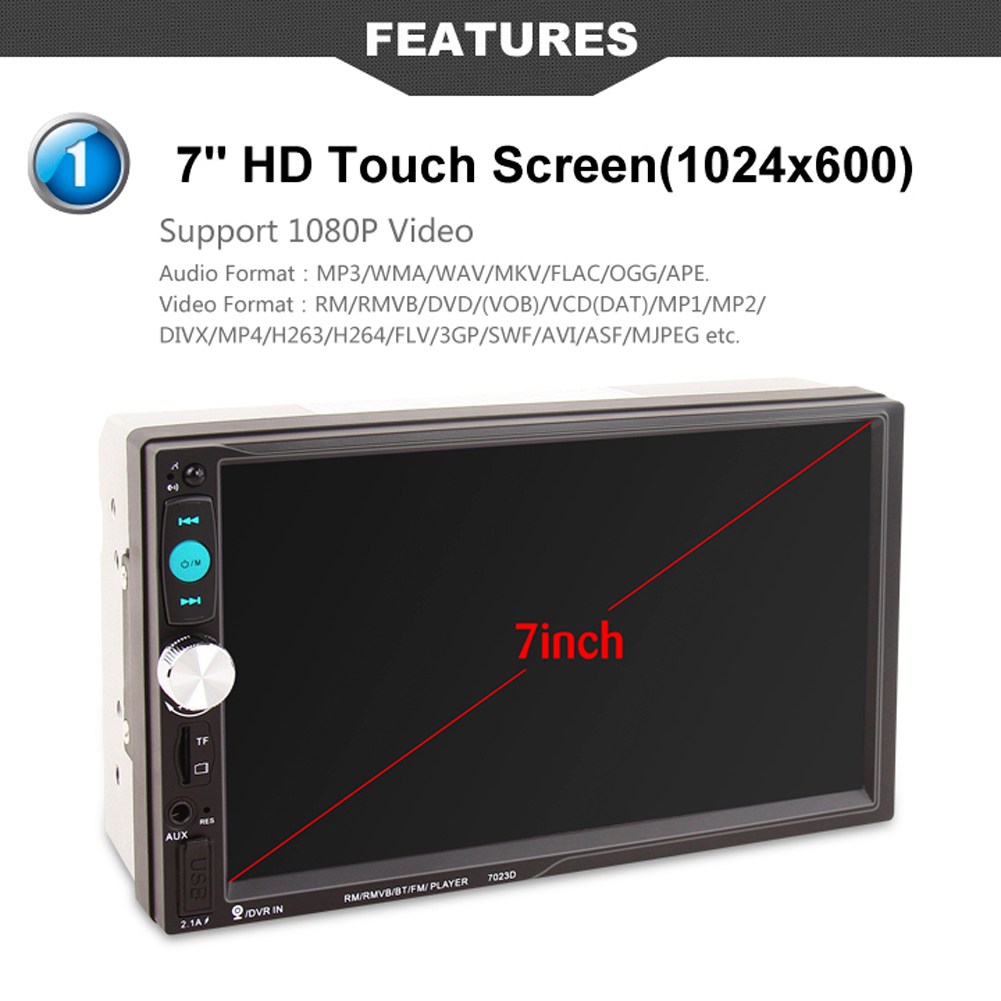 New 7 inch HD Bluetooth Touch Screen Car Stereo Radio 2 DIN FM/MP5/USB/AUX Car Radio Multimedia Player with Rear View Camera 7021g 2 din car multimedia player with gps navigation 7 hd bluetooth stereo radio fm mp3 mp5 usb touch screen auto electronics