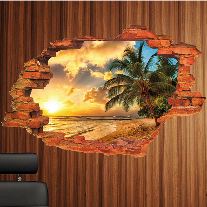 Sea Landscape Decals Sunshine Beach Sea Sun Tree 3D Window Hole View Wall Stickers Kids Living Room Sofa Wall Home Office Decor
