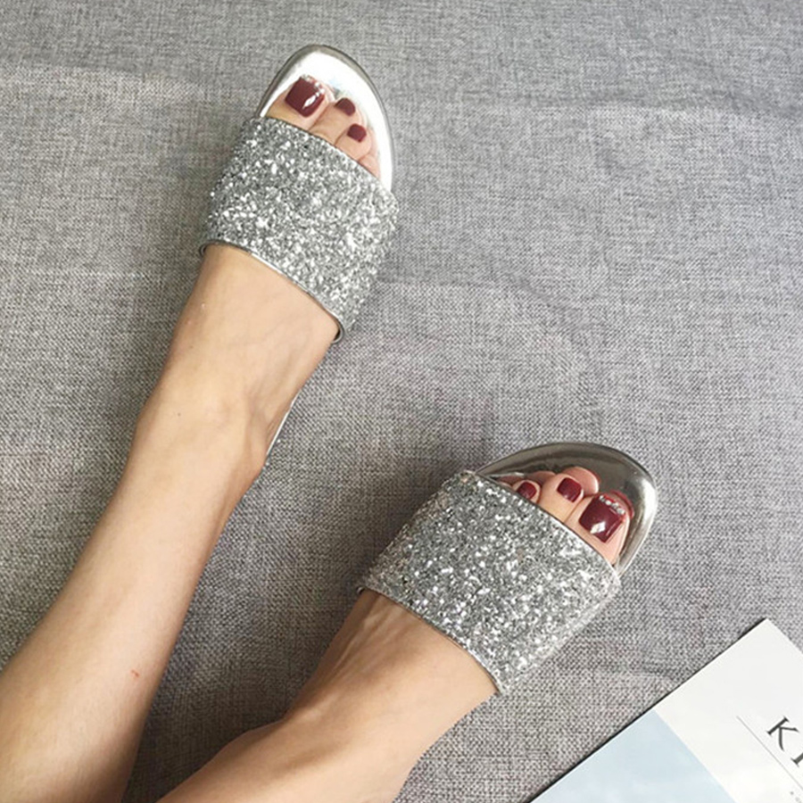 Prova Perfetto fashion summer bling bling sequined cloth women slippers comfort sheepskin casual beach slides gold black silver