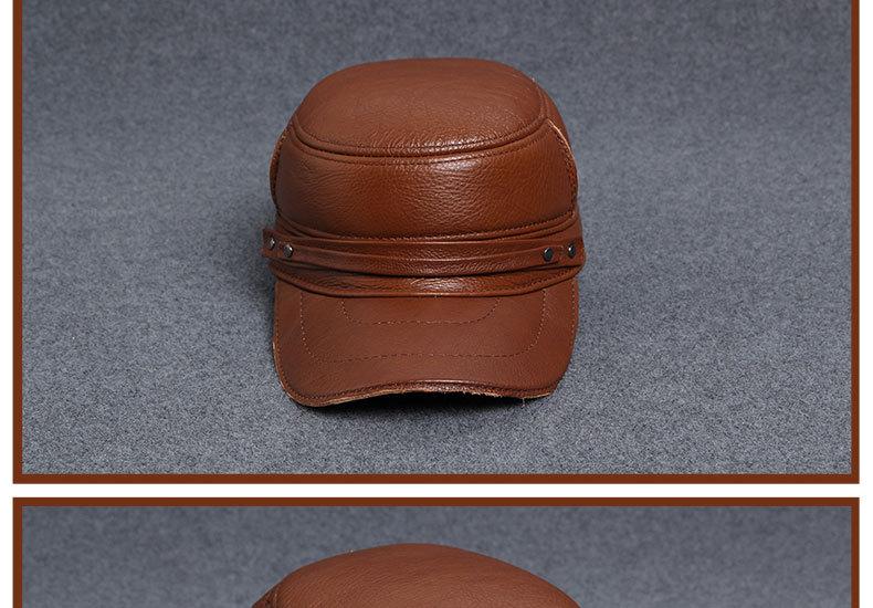 Men\'s Leather Hat - warm winter baseball cap - Korean fashion outdoor peaked cap _19