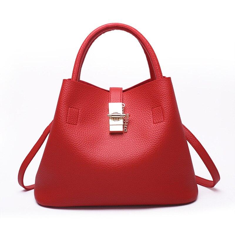 women fashion bucket bag high quality leather handbag large capacity casual totes red shoulder bags composite bag sac bolsa