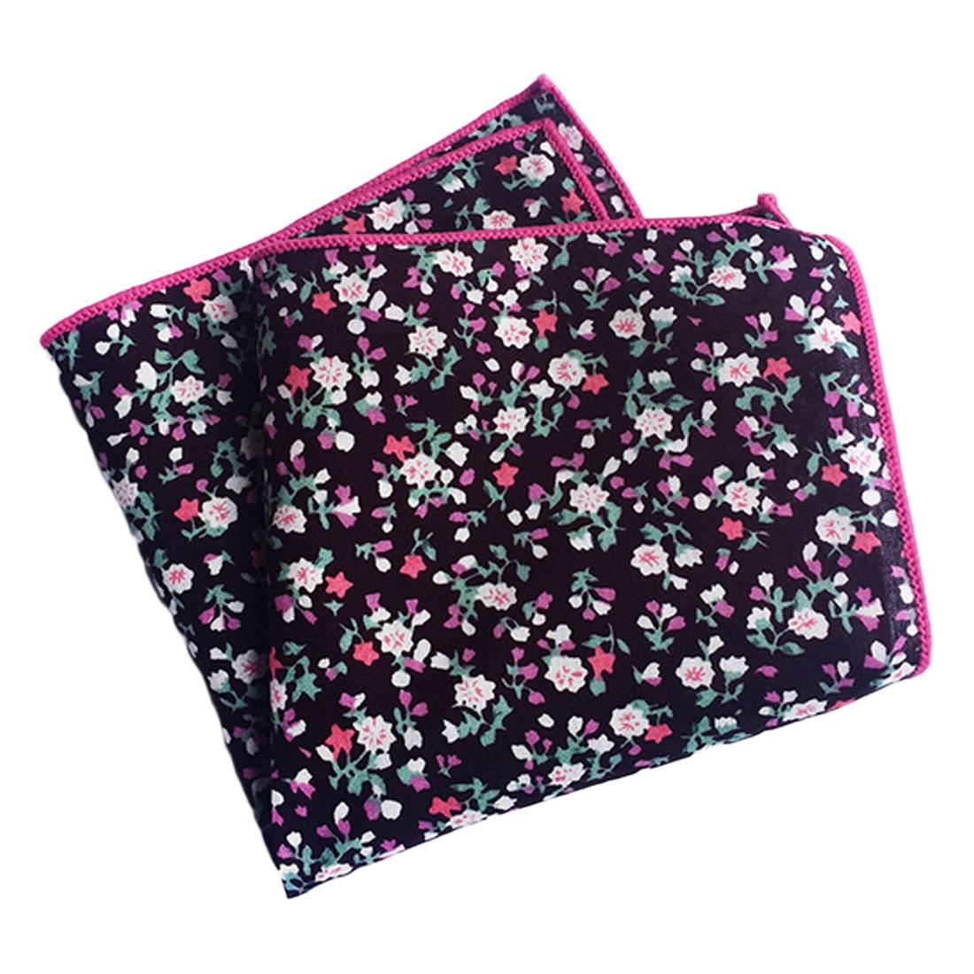 Men's Cotton Pocket Square Western Style Floral Handkerchief For Suit Pocket Wedding Square Paisley 25x25cm