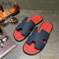 6f5a31ff271 ... Heel Genuine Leather Summer Beach Sandals Mens Slides Comfortable  Leisure Shoes. Los hombres zapatillas de tacón plano cuero genuino verano  sandalias ...