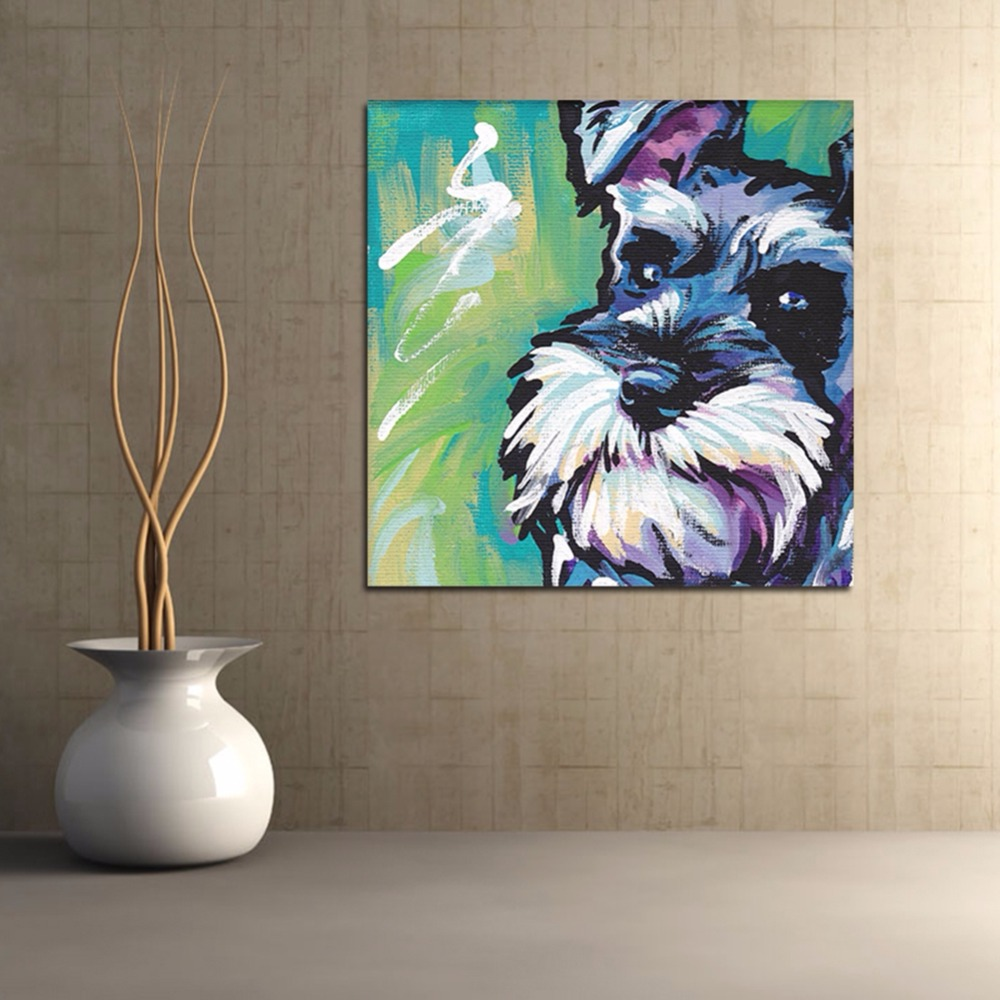 Imixlot Animal Pet Dog Schnauzer Canvas Painting Kids Gift Digital Oil Paintings Home Decor Wall Art for Living Room Drawing in Painting Calligraphy from Home Garden