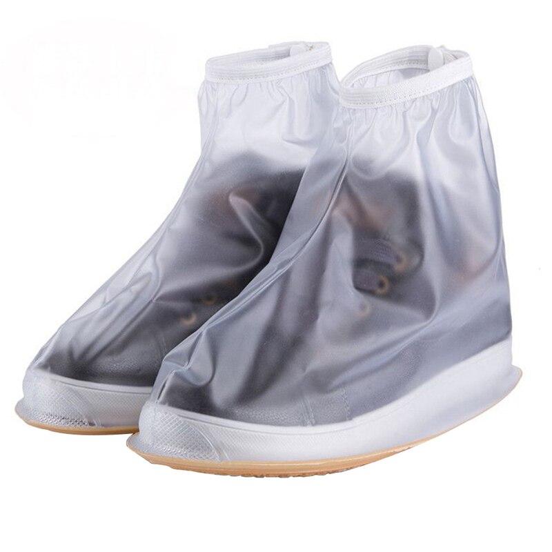 Waterproof Rain Shoes Cover Reusable Boots Flat Overshoes Covers Slip Resistant PVC Material Black Transparent Unisex Men Women