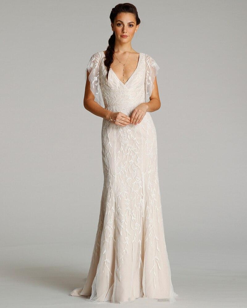 Flutter Sleeve Bridesmaid Dress - Flutter Sleeve Wedding Dress