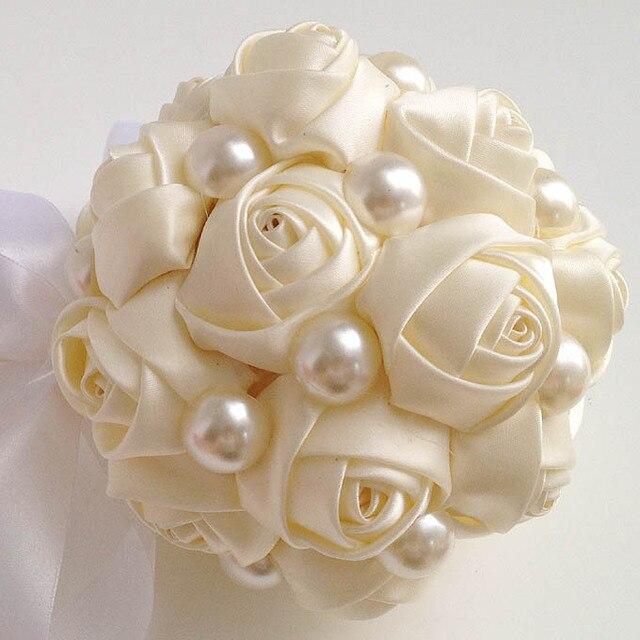Элегантный Свадебный Букет Шелковые Розы Букеты Невесты Жемчужные Свадебные букеты TR001