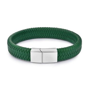 Braided Leather Men's Bracelet with Magnetic Stainless Steel Clasp Bracelets Hot Promotions Jewelry Men Jewelry New Arrivals Metal Color: Green 1 Length: 16.5cm