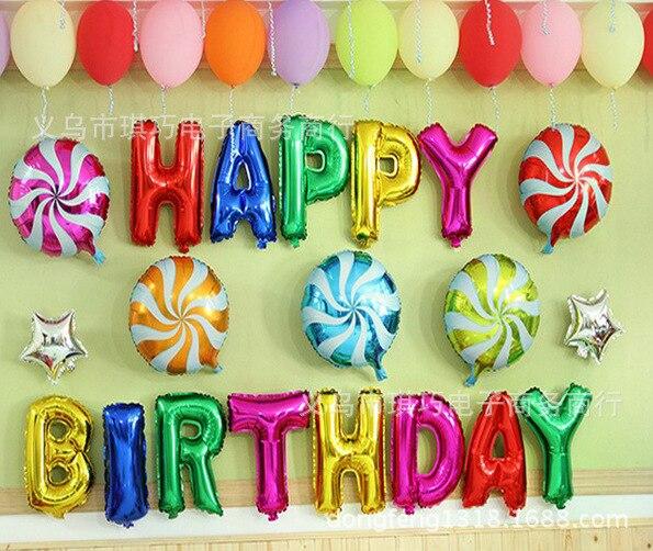 coloridos globos de la hoja feliz cumpleaos globos carta bolas kids birthday party balloon unids envo gratis