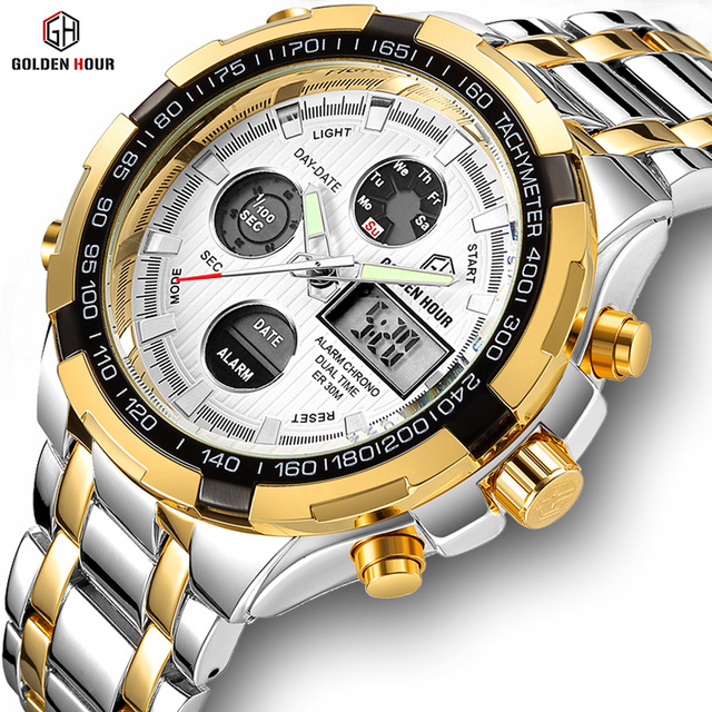 GOLDENHOUR Luxury Men Classic Business Quartz Watch Mens Fashion Dual Display Stainless Steel Wristwatches Waterproof Male Clock