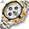 GOLDENHOUR Luxury Men klasyczny biznes zegarek kwarcowy moda męska podwójny wyświetlacz zegarki na rękę ze stali nierdzewnej wodoodporny męski zegar w Zegarki kwarcowe od Zegarki na
