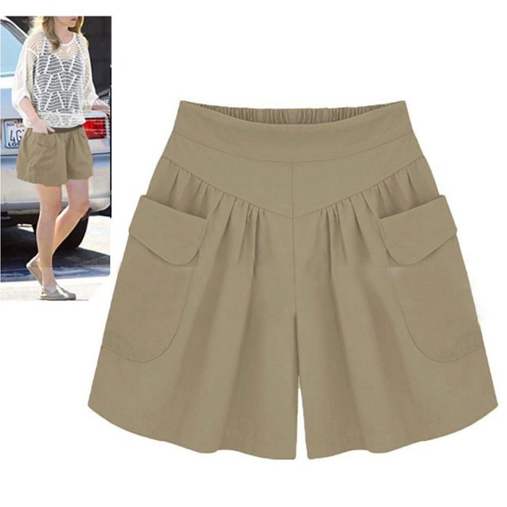 Women Hot Shorts 2018 Plus Size 5XL Solid Loose Hot Sale Pockets Lady Summer Casual Elastic Waist Cotton Shorts Drop Shipping