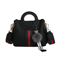 Female Small Bag 2018 New PU Leather Handbag Large Capacity Tote Bag Women Fashion solid Hairball Ornaments Shoulder Bags