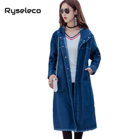 Ryseleco X-Long Denim Trench Coat Winter Long Knee Length for Women Design Overcoats Casual Loose Hooded Tassels Hem Jeans Top