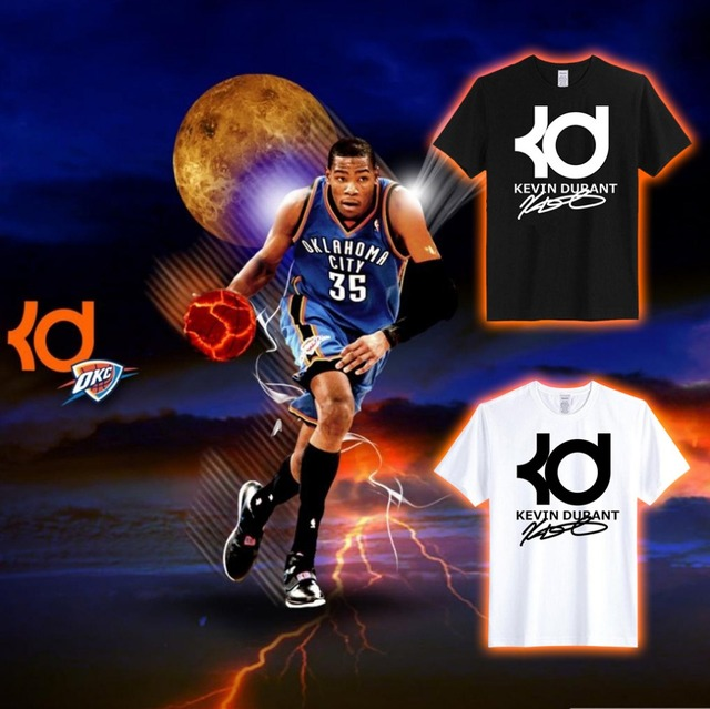 round neck men 100 cotton tee shirt kevin durant kd printing custom t shirts for