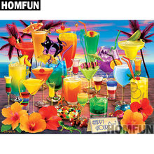"HOMFUN Full Square/Round Drill 5D DIY Diamond Painting ""Holiday drink"" 3D Embroidery Cross Stitch 5D Home Decor A00893(China)"