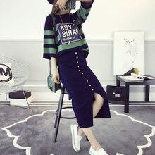 Wiosna nowe Womans zestawy z dzianiny w stylu Casual, w paski luźny sweter + Bodycon wąskie spódnice garnitur dla kobiety dorywczo panie dwuczęściowe zestawy