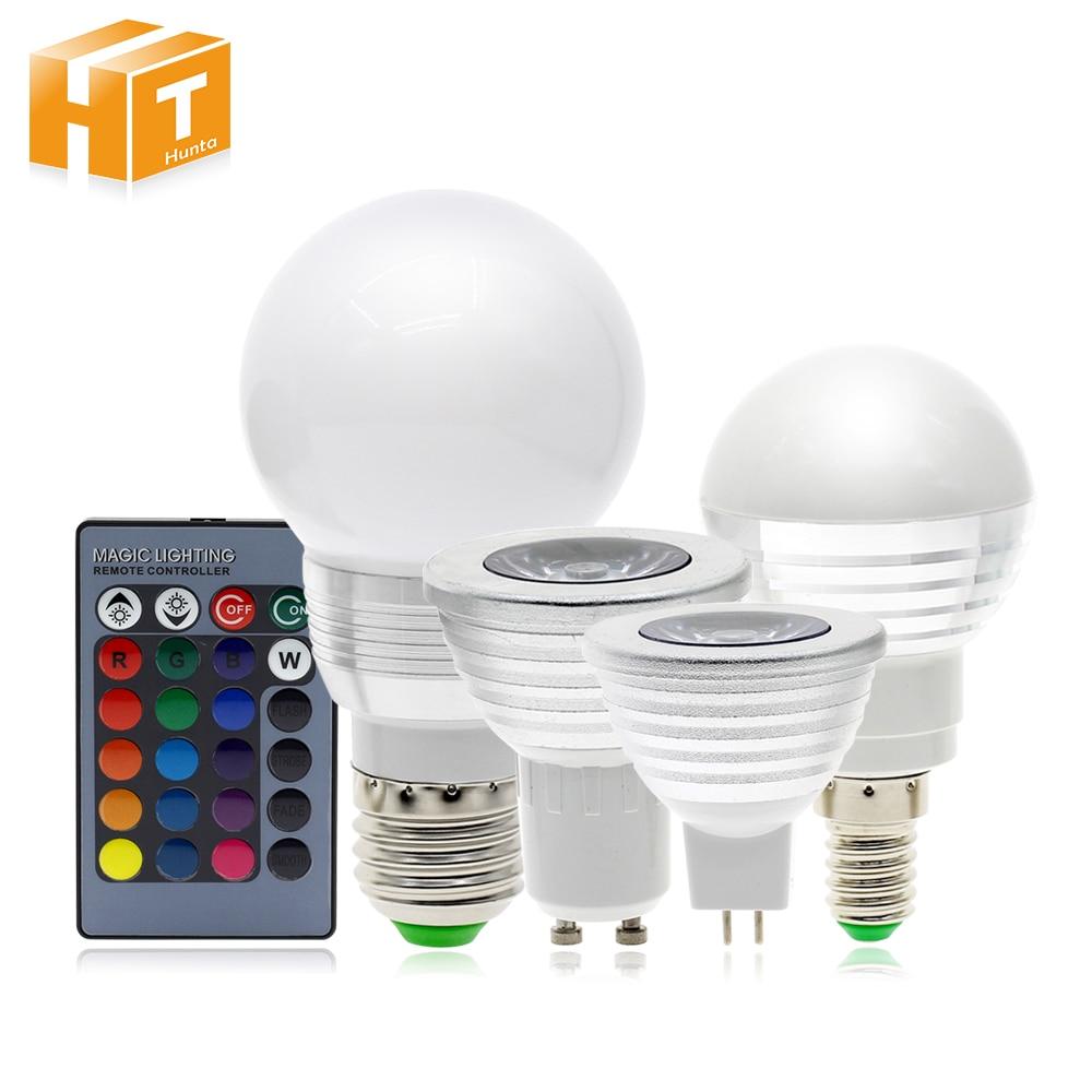RGB LED Bulb E27 / E14 Bulb Light GU5.3 / GU10 Spotlight AC 85-265V 16 Color Changing Remote Control RGB Light. new 3w e27 led rgb led light bulb with ir remote control pop lamp color changing ac 85 265v 16 colors changing led bulbs tubes