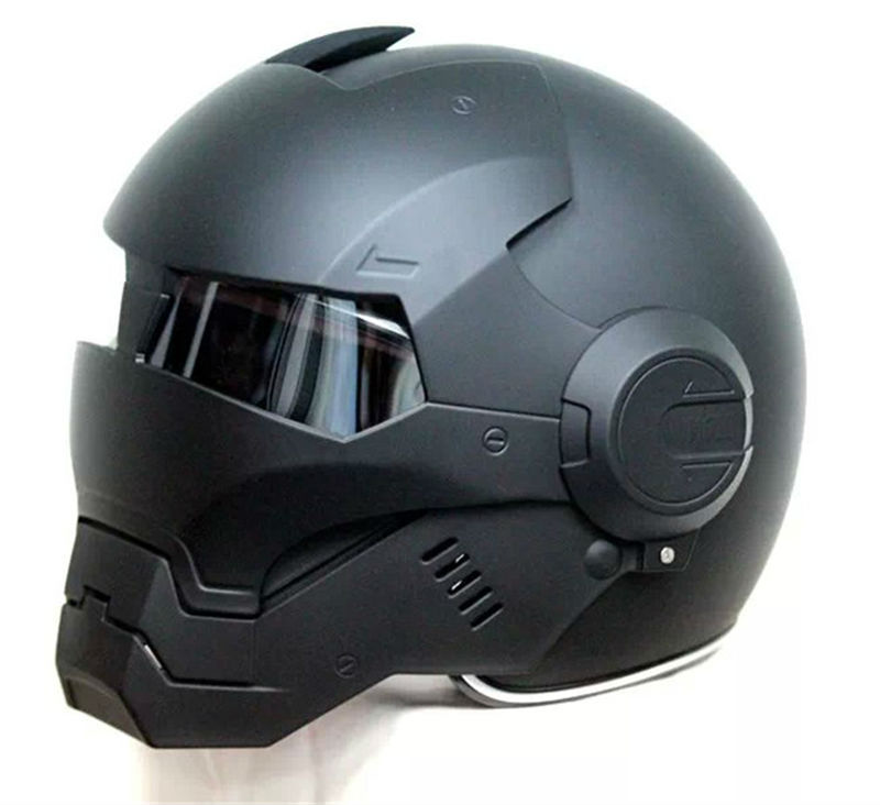 2017 Top chaud noir MASEI IRONMAN Iron Man casque moto casque demi-casque visage ouvert casque motocross 610 taille: M L XL