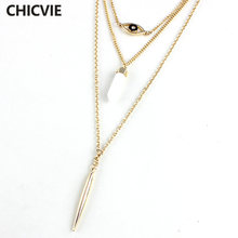 Chicvie женское богемное винтажное многослойные ожерелья золотистого