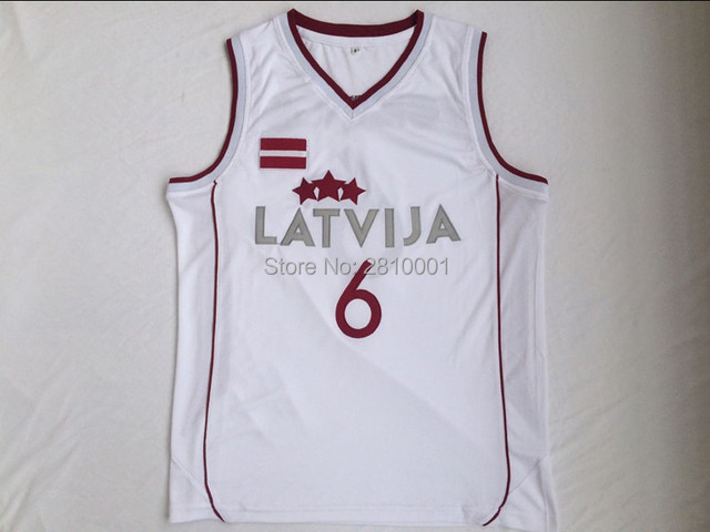 96edd05c34a3 Kristaps Porzingis 6 Latvija Mens Throwback Basketball Jersey Cheap  stitched Kristaps Porzingis Shirt High School White