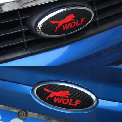 2 Pieces WOLF LOGO Personality 3D Carbon Fiber Vinyl Head And Tail Car Stickers Car Styling For Ford Focus