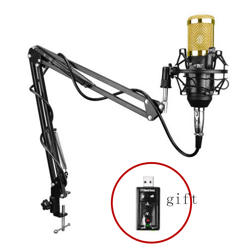 Professional BM 800 Condenser Microphone for Computer Audio Studio Vocal Recording Mic Karaoke+Microphone Stand+USB Sound Card felyby professional live condenser microphone for computer and phone bm 800 karaoke microphone multi function live sound card